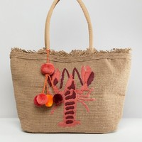 America & Beyond Hand Embroidered Lobster Structured Beach Bag at asos.com