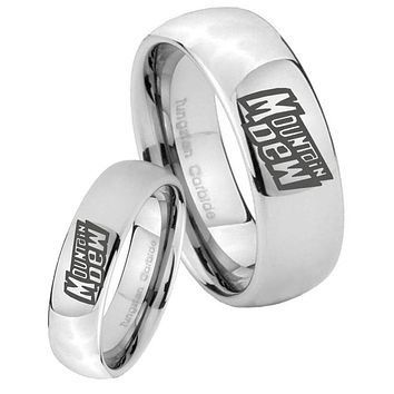 His Her Classic Mirror Dome Mountain Dew Tungsten Carbide Silver Rings Set