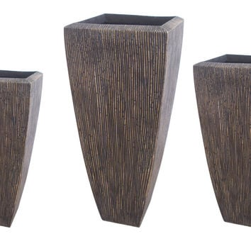 "Screen Gems Sandstone Ribbed Long Square Planter 3/Set, Heights: 24"", 32"", 39"""
