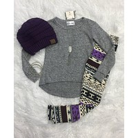 Girls Hi-Lo Grey Sweater Top