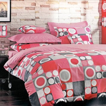 Custom Queen Size Coral Red Pink and Smoke Geometrical Print Bedding Set