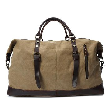 Vintage military Canvas Crazy Horse Leather men travel bags brand fashion large weekend duffel bag business popular design bag