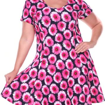 Women's Fit and Flare Plus Size Dress Fuchsia Short Sleeve