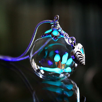 Tiny Dragonfly GLOW in the DARK in Glass bubble