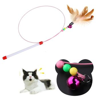 TINKSKY Pet Toy Wire Chaser Wand Teaser Feather With Bell Beads Play Fun