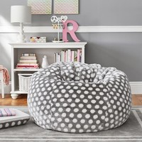 Gray Dot Faux Fur Beanbag