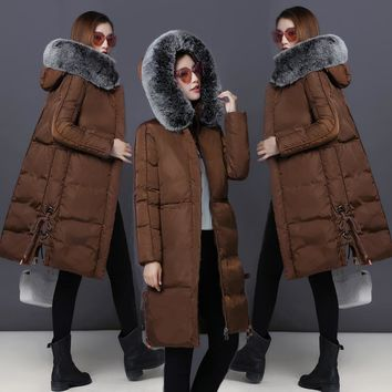Warm Snow Wear Women Cotton Coat Fur Collar Hood Parkas High Quality Fashion Zipper Long Jacket Thick Plus Size Outwear MY0011