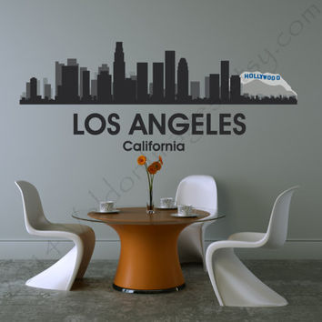 Los Angeles skyline vinyl wall decal, decal, wall words sticker, wall graphic , typography, vinyl decal cityscape in black, vinyl decal