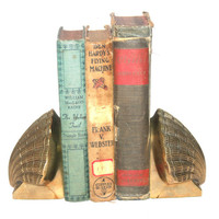 Vintage Brass Sea Shell Bookends, Hollywood Regency, Deco, Home Office Decor, Bronzed Antique Alchemy