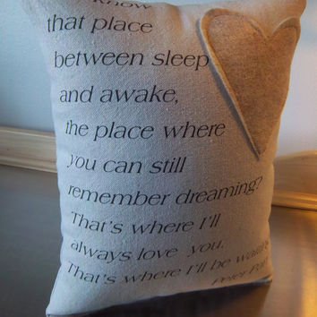 Graduation gift ideas Peter Pan quote pillow handmade canvas throw pillow home decor