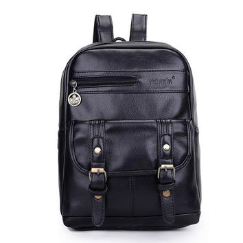 Student Backpack Children Vintage Unisex Travel Bag Men Backpack PU Leather Women Men Bag  AT_49_3