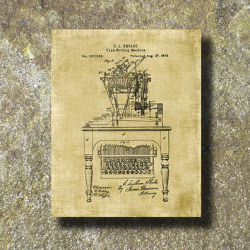 Type Writing Machine Patent 1878 Print Art Illustration Printable Instant Download Poster UP0116bur