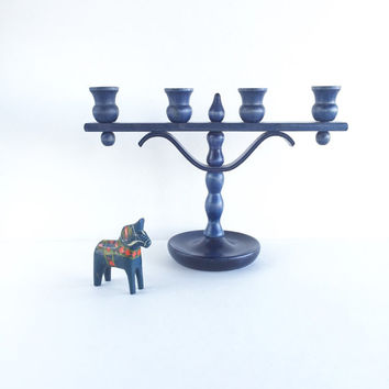 Vintage Swedish A-Bra Slojd Varnamo Blue Candelabra, Modern Blue Wooden Swedish Candle Holder