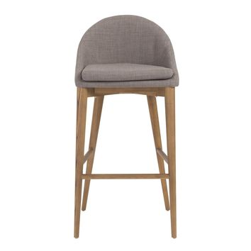 Baruch Bar Stool in Dark Gray with Walnut Legs