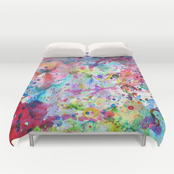 Abstract Bright Watercolor Paint Splatters Pattern Duvet Cover by Girly Road