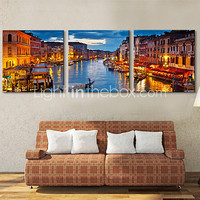 Stretched Canvas Art Landscape The Green River Set of 3 - USD $ 78.99