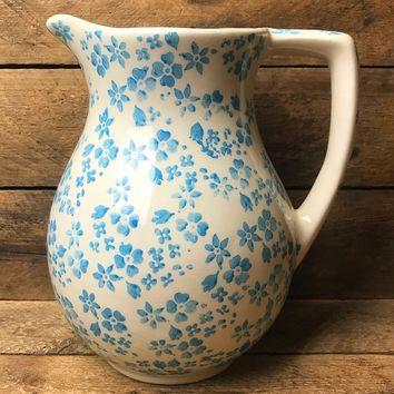 Farval White and Blue Flower Pitcher Made in Portugal