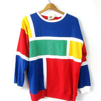 Colorblock Shirt Oversized Color block Striped Tee Shirt Green Blue Yellow Primary Colors TShirt Long Sleeve T Shirt Slouchy Vintage Large