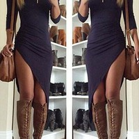 Irregular Short-Sleeved Bodycon Dress
