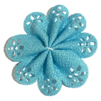 "Turquoise blue 2"" hollow eyelet petal flowers"