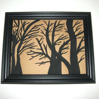 Original Painting Tree Silhouette Black and Brown Scenery Nature Art