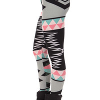 Grey Multi Color Leggings