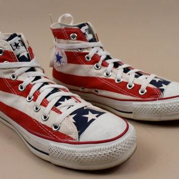 70s - 80s vtg rare CONVERSE American Flag Stars & Stripe Lace Up Ankle Boot Tennis Sho