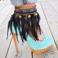 Set of 2 Boho Gypsy Feather Anklet Boot Shoe Bands
