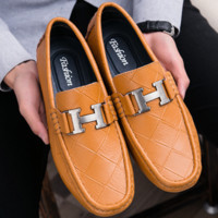 HERMES lazy people casual leather shoes fashion is wearing doudou shoes man leather H with four seasons male shoes F0218-1 Brown