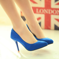 Royal Blue Platform Peep Toe High Heels Women Pumps Sandals Thin Heel Ankle Strap Lady Shoes Woman Summer wedding bride