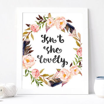 Isn't She Lovely Print - Isn't She Lovely Quote - Inspirational Quote - Romantic Love Quote - Gift Card For Her  - Pink Peony Floral Wreath