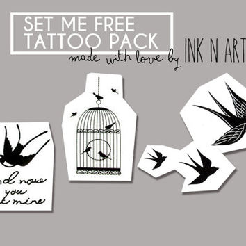 InknArt Temporary Tattoo - Set Me Free birds swallows pack tattoo collection quote wrist neck ankle body sticker fake tattoo