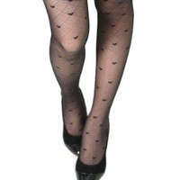 Sexy Tights Heart Pattern Jacquard Seamless Black Pantyhose Body Stockings