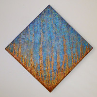 Original Abstract Blue & Gold Textured Drip Painting with Stone Detailing size: 12 x 12 inch