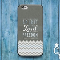 iPhone 4 4s 5 5s 5c 6 6s plus iPod Touch 4th 5th 6th Generation Cute Freedom Life Bible Quote Lord Spirit Phone Cover Brown Chervron Case