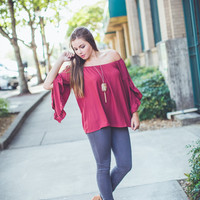 Ruffled Babydoll Top in Burgundy