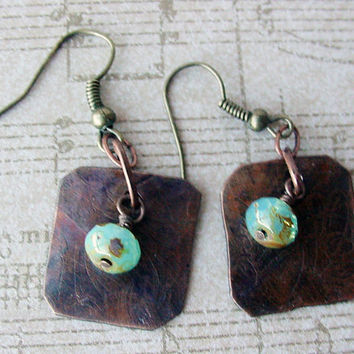 Etched metal Copper Earrings with blue Czech Picasso beads boho jewelry casual jewelry for work