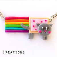 Nyan Cat Necklace - Rainbow Pop-Tart Jewelry