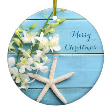 Beach Themed Christmas Ornaments Starfish Orchid