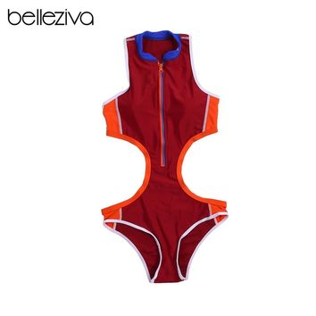 Belleziva Women Sexy Padded Hollow Out Hot Beach Swimsuits One Piece Swimsuit Zipper Front Bathing Suits Swimwear Monokinis
