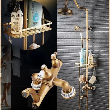 Single Handle Antique Brass Bronze Design Shower Faucet Set with Storage Holder