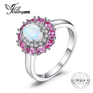 JewelryPalace Fashion 0.96 ct Created White Opal Pink Sapphire Cluster Halo Ring For Women Real 925 Sterling Silver Fine Jewelry