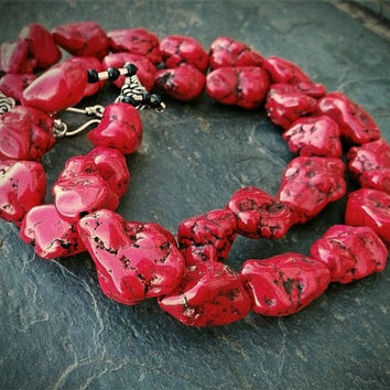 Chunky Red Necklace, Red Turquoise Nugget Necklace, Red Statement Necklace, Red Nugget Necklace
