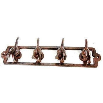 Cast Iron 4 Hook Dog Tail Key Coat Leash Collar Rack Rustic
