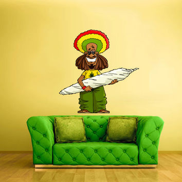 Full Color Wall Decal Vinyl Mural Sticker Art Decor Bedroom Rastafarian Cigar Cannabis Marijuana Smoke