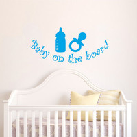 Childrens Wall Decals Phrase Baby on the board - Bottles and teats - Wall Decals Quotes - Wall Decal Words - Nursery Wall Decor  V971