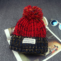 2016 Casual Cotton Acrylic Rushed Solid Adult New Fashion Gorro Winter Knitted Hat Bonnet Cloth Warm Hats For Women Beanies