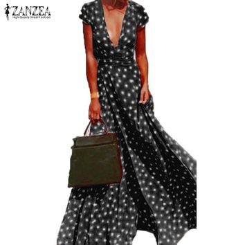 ZANZEA Summer Dress Women Polka Dot Deep V Neck Short Sleeve Split Party Beach Maxi Long Dress Vestido Sundress Plus Size