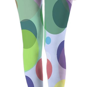 Pastel circles pattern, mixed colors leggings design, color palette stylish girls clothing