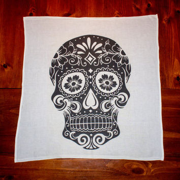 Sugar Skull Tea Towel Day of the Dead Kitchen by TheWatsonShop